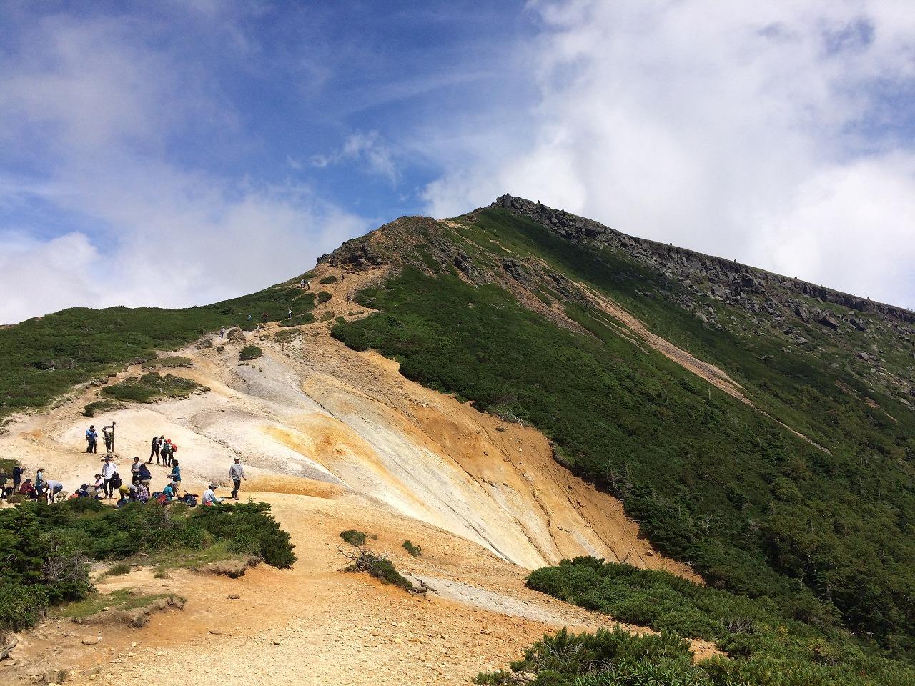 目の前に見えるのは硫黄岳。