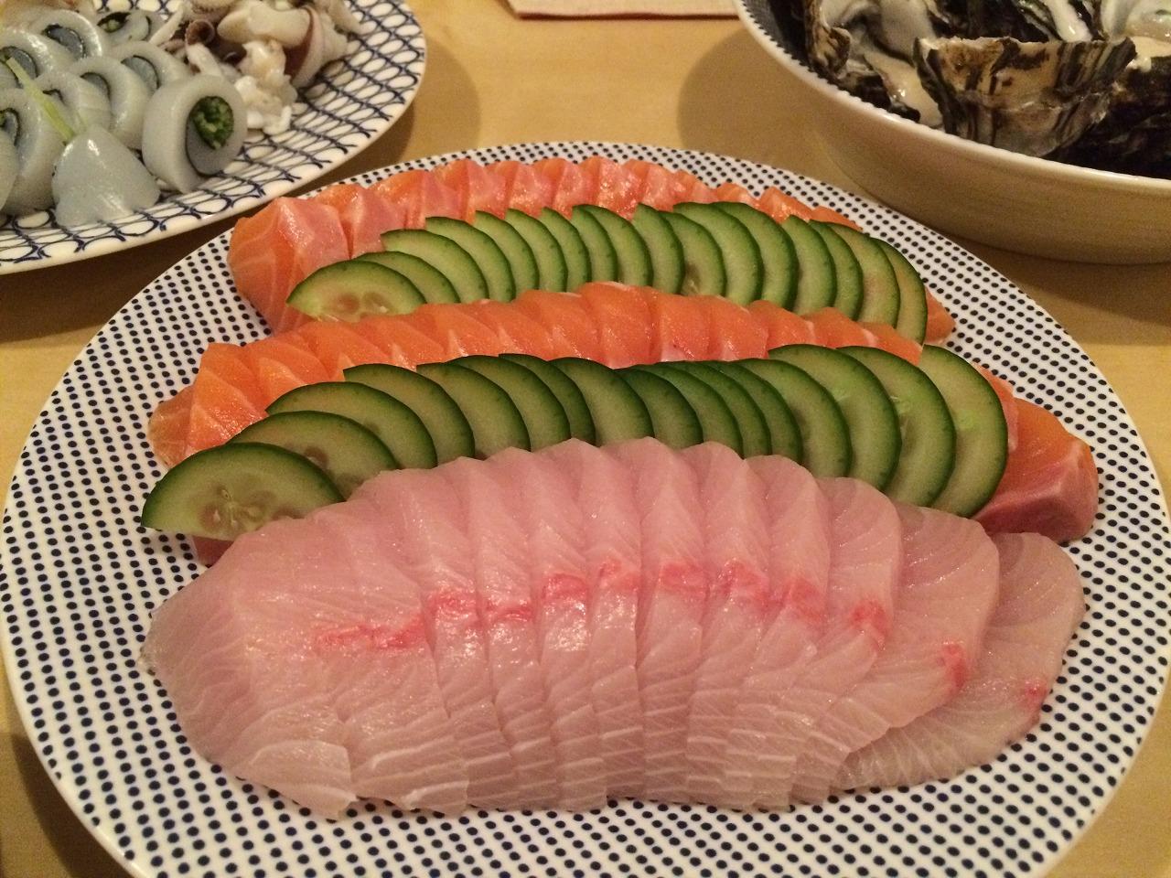 サーモンと鯛?です。