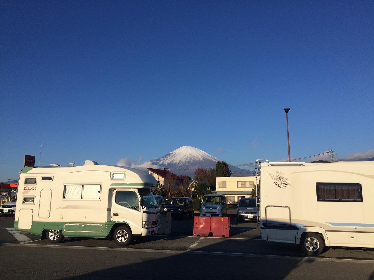 駐車場からの富士