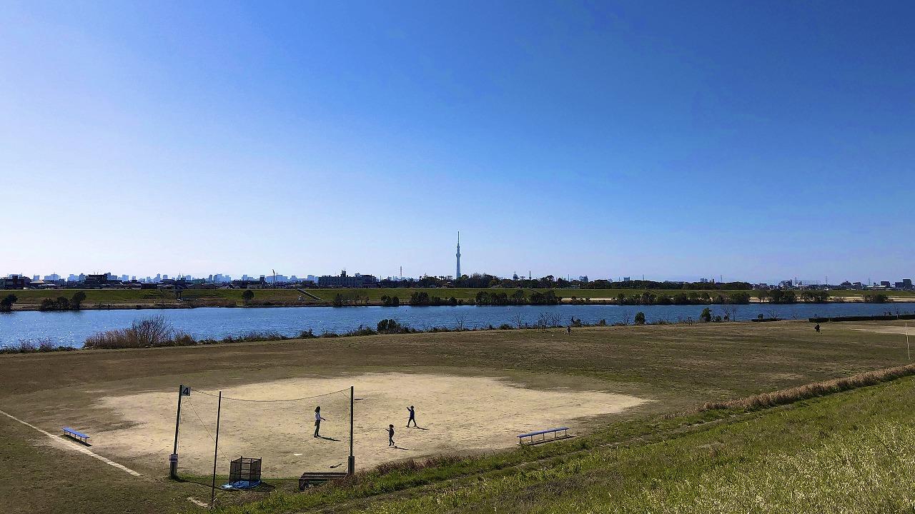 江戸川とスカイツリー